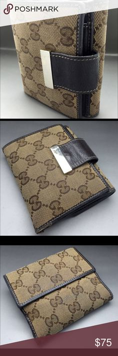 """Gucci GG Logo Leather Vintage Brown Beige Wallet Gucci GG Logo Leather Vintage Brown Beige Wallet.                                                                Used, have a little bit flaws on the crook canvas. In general condition is good!   Measurement in close positions 4.3""""x4"""", an open position 4.3""""x7.5"""" inches. There is a department for cards, coins, paper money and also Gucci Bags Wallets"""