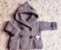 Hand Knit coat Hooded children's Jacket Merino wool by Pilland, $130.00