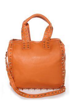 Bring Me Along Studded Orange Tote at LuLus.com! #lulusrocktheroad