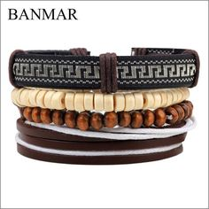 BANMAR 1 Set 4 PCS Jamaica Handmade Leather Bracelet Weave Hip hop Reggae Beads Bracelet