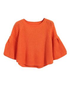 Trumpet Sleeves Pure Color Pullover - Knitwear - Clothing