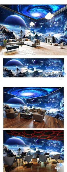 Star Wars Starry Space The entire room wallpaper wall mural decal Ceiling Murals, Floor Murals, Floor Decal, Wallpaper Wall, Photo Wallpaper, Floor Design, Wall Design, Wall Mural Decals, Game Room Design