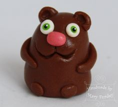 Mr Brown Bear. Polymer clay figure. Toy with magnet. by MaryFurdey on Etsy