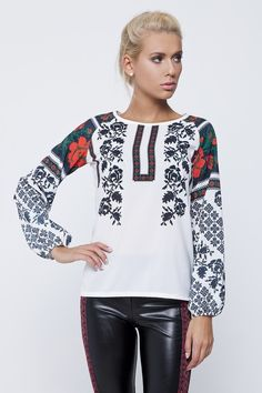 Bright and stylish women's blouse made of stretch chiffon in traditional Ukrainian embroidery design. Made in Ukraine
