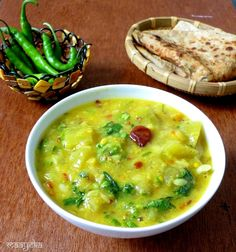 Bottle gourd cooked with yellow lentils,fresh herbs and mild spices