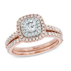 1.00 CT. T.W. Diamond Double Frame Bridal Set in 14K Two-Tone Gold - Peoples Jewellers