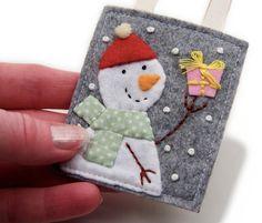 Little Felt Snowman Ornament Handmade Wearing by JennMaruskaDesign, $8.00