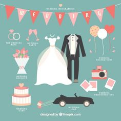 Descarga gratis vectores de Infografía adorable de boda