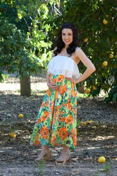 Orange silk-blend Paradise Maternity Maxi Dress from Heritwine Maternity. Perfect for Spring and Summer. Maternity Dresses For Baby Shower, Maternity Maxi, Summer Maternity Fashion, Spring Maternity, Maternity Boutique, Friend Outfits, Pregnancy Photos, Special Occasion Dresses, High Waisted Skirt