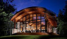 Modern Cabin with Glass Window Wall - rustic - Exterior - Milwaukee - Eldorado Stone Eldorado Stone, Porches, Philip Johnson Glass House, Wood House Design, Roof Design, Rustic Exterior, Stone Exterior, Stone Facade, Modern Exterior