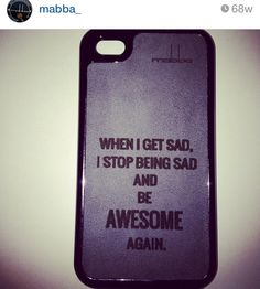 """When I get sad I stop being sad and start being AWESOME again"" quote Smartphone case - sample is made for the iPhone 5/5S and iPhone 4/4S - for more smartphones check our online shop at www.mabba-shop.de  Handgemacht aus echtem Leder! Case ist für das iPhone - für andere Smartphones schaut mal in unseren online Shop rein! <3"