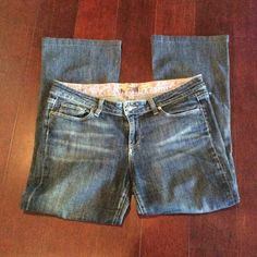 """Paige denim jeans. Size 32 * PRICE DROP* Measured laying flat, waist 17"""" hemmed to  26"""". Sm hole w/area of thinning on bottom(see pictures) Well Loved Paige Jeans Jeans"""