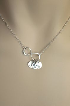 "I want this with a G and a 15"" chain!  Too cute!  Monogrammed Silver Infinity Disc Necklace. Bridal by MenuetDesigns, $30.00"