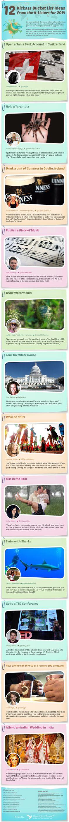 12 Kickass Bucket List Ideas For 2014   #Infographic #Entertainment #Travel