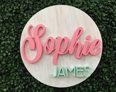 Items similar to Round Baby Name Sign Wood Nursery Name Sign Baby Shower Gift Decor Newborn Baby Girl Boy Custom Personalized Babies on Etsy Wood Name Sign, Wood Names, Wood Signs, Wood Nursery, Nursery Name, Nursery Decor, Pallet Board Signs, Baby Name Blocks, Baby Name Signs