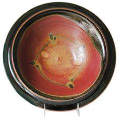 Maishe Dickman Hand Thrown Stoneware Shaner Red and Tenmoko Black Serving Bowls, Artistic Artisan Pottery