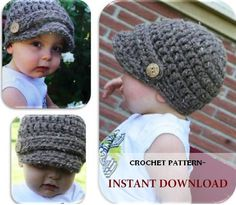 crochet PATTERN- Baby Newsboy Hat Newborn to 4T sizes also Made To Order