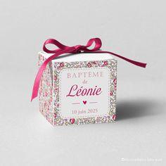 Boîte à dragées sur fond Liberty Éloïse Rose - Modèle Léonie