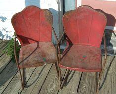 Pair of Vintage Childrens Metal Yard Chairs / Rocker Metal Rocking Chair, Outdoor Rocking Chairs, Vintage Patio Furniture, Lawn Furniture, Outdoor Furniture, Old Metal Chairs, Antique Chairs, Glider Chair, Chair Cushions