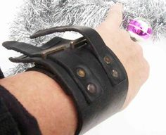 vintage black leather wristband circa 1970's-80's by BoxV on Etsy