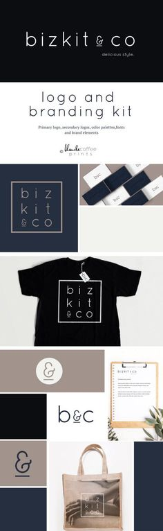Premade Minimalism Brand Identity, Custom Logo Design, Logo Package,Business Logo, submark, Branding Kit, branding package, branding, by BlondeCoffeePrints on Etsy
