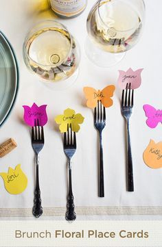 Looking for an easy way to brighten your brunch? Try adding these colorful little place cards, their slim design makes them great for a table full of friends and family. #BetterTogether