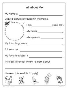 003 Back to School FREE printable 'Let me introduce myself