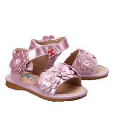 Another great find on #zulily! Metallic Pink Blossom Sandal by Hide & Squeak #zulilyfinds