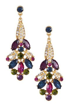 Swarovski Multicolor Drop Post Earrings by Non Specific on @HauteLook
