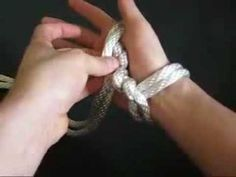Rope flogging cuffs to support weight through the whole hand.