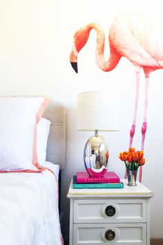 Flamingo wall decals! | theglitterguide.com