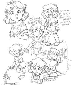 Some warmups of my D&D character Lady Sugarsnap (halfling druid!), since I'm starting a new game where my friend Pat is the DM. Looking forward to exploring the town of Ja Rule.
