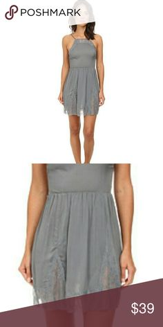 NEW FREE PEOPLE lace slip dress in vapor blue SM New without tags. 2016 purchase  Size small sold out $88.00   Sleek dress features contrast sheer lace at neckline and hemline for a feminine and sultry style.Sleeveless construction.Nipped waist flatters your figure.Chic cutouts at back.Pull-on design.Flared hemline falls at a flirty length. 100% rayon.Trim: 88% nylon, 12% spandex. Machine wash cold, dry flat.Imported. Product measurements were taken using size S (Women's 4-6).  Length: 35 in…