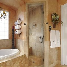 Tuscan Master Bath Remodels | ... Bathroom Curbless Shower Design Ideas, Pictures, Remodel, and Decor