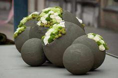 Blaas ballonnen op van verschillende formaten en smeer ze in met cement. Enkele laat je aan de bovenkant open en wanneer het cement droog is prik je de ballon kapot. Vul de ballon met bijvoorbeeld wat zomerbloeiers