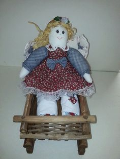 Rustic Rattan Wooden Wicker Sled Bed And Angel Rag by RosiesHut, $35.00