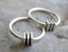 Small silver hoop earrings  men's hoop by LarryJewelryShop on Etsy