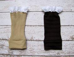 Toddler girl lace boot socks, leg warmers, brown, light brown, gray ...
