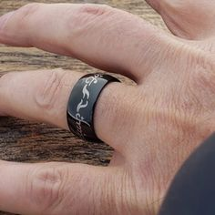 The Black Tungsten Wedding Bands, LOTR, Lord of the Rings One Ring features the famous inscription circling both the inner and outer diameter. Lord Of The Rings, Rings For Men, Black Tungsten Rings, Tungsten Wedding Bands, Tungsten Carbide, One Ring, Black Rings, Lotr, Laser Engraving