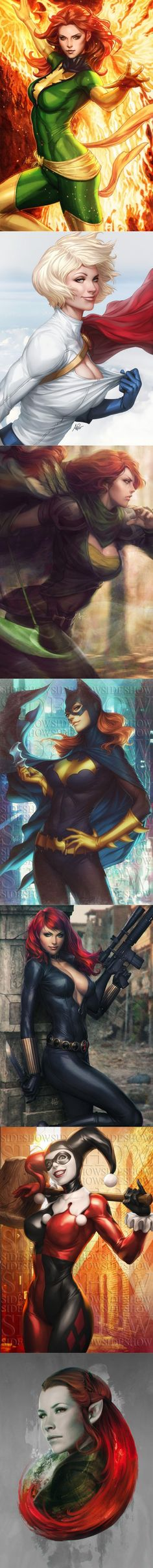DC and Marvel heroines by artgerm Comic Book Characters, Comic Character, Comic Books Art, Comic Art, Heros Comics, Marvel Dc Comics, Comic Anime, Anime Comics, Marvel Girls