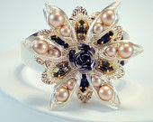 Vintage Wire Wrapped Flower with Swarovski Pearl And Swarovski Rhinestone Cuff Bracelet