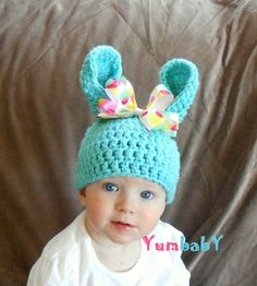 Baby Easter Bunny Hat Pastel Blue Easter Bunny Multicolor Polka Dot Bow Baby Girl via Etsy