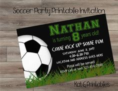 Soccer Party Birthday Invitation, Boy or Girl Personalized & Printable Digital Invitation Soccer Party Favors, Soccer Birthday Parties, Birthday Party Themes, Personalized Invitations, Digital Invitations, Printable Invitations, Boy Birthday Invitations, As You Like, Logan