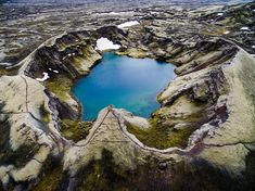 Lakagígar, or the Craters of Laki, is part of a volcanic system set between the glaciers of Mýrdalsjökull and Vatnajökull, in an area of fissures that run in a southwest to northeast direction