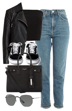 """Sin título #14376"" by vany-alvarado ❤ liked on Polyvore featuring Topshop, AllSaints, Yves Saint Laurent and Ray-Ban"