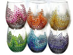 These would make great toasting glasses!  https://www.etsy.com/listing/247062963/rainbow-stemless-wine-glasses-set-of-6