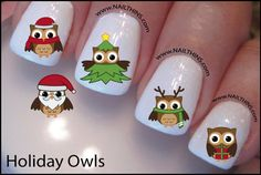 Hey, I found this really awesome Etsy listing at https://www.etsy.com/listing/170914101/christmas-owl-nail-decal-holiday-design