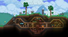 Hello and welcome one and all to Creation Compendium That's a lot of compendiums - 5 years in fact! Terraria House Design, Terraria House Ideas, Terraria Tips, Minecraft Cabin, Minecraft Blueprints, Minecraft Buildings, Minecraft Underwater House, Underground Homes, Building Games