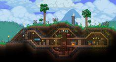 Terraria House Design, Terraria House Ideas, Terraria Tips, Minecraft Underground, Underground Homes, Terraria Castle, Minecraft Underwater, Minecraft Construction, Minecraft Designs