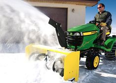 Turn riding lawnmower into a snow clearing machine.